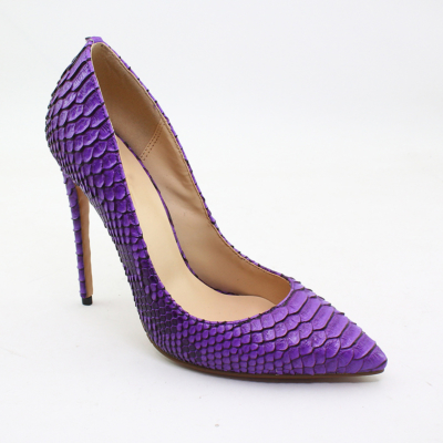 Purple Snakeskin Prints Stiletto High Heel Pumps Pointed Toe Party Shoes