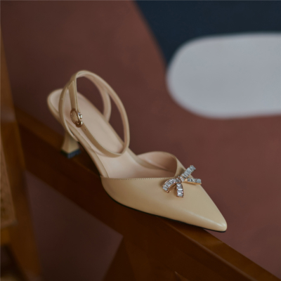 Nude Leather Ankle Strap Buckle Slingbacks Pumps with Crystal Bow