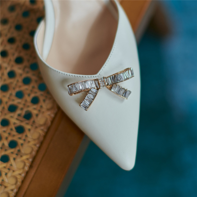 Soft Leather Ankle Strap Buckle Slingbacks Pumps with Crystal Bow