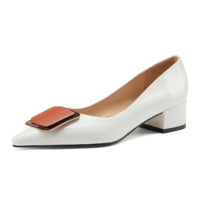 Soft Leather Buckle Pumps Pointed Toe Low Heel Shoes Flats