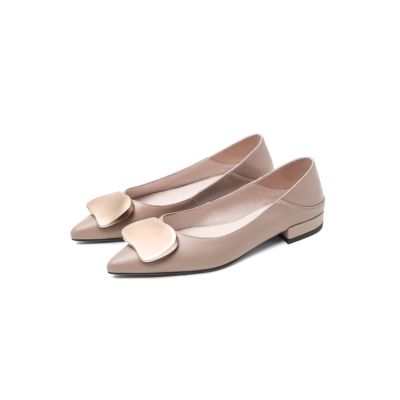 Soft Leather Buckled Flat Shoes for Work