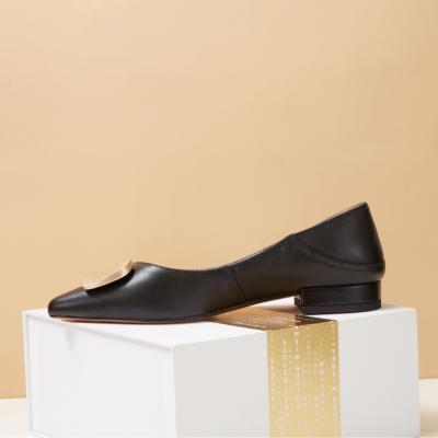Black Soft Leather Buckled Flat Shoes for Work