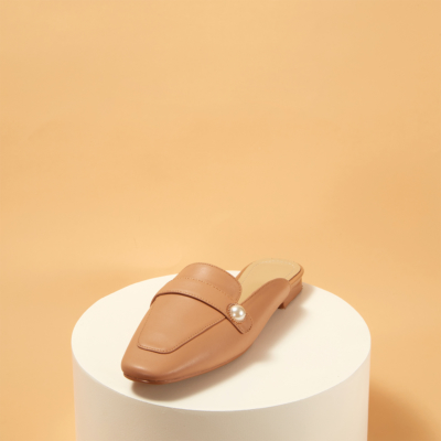 Nude Soft Leather Pearl Slide Loafer Flat Mule