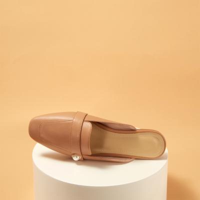 Soft Leather Pearl Slide Loafer Flat Mule