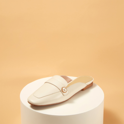 White Soft Leather Pearl Slide Loafer Flat Mule