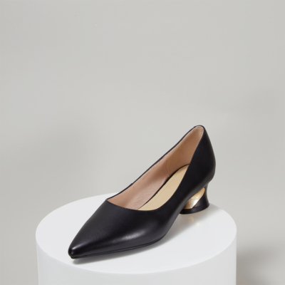 Soft Leather Pointed Toe Low Heeled Work Pumps