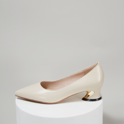 White Soft Leather Pointed Toe Low Heeled Work Pumps