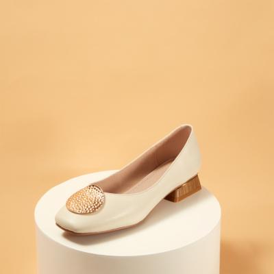 White Leather Sqaure Toe Metal Decor Low-heel Pumps