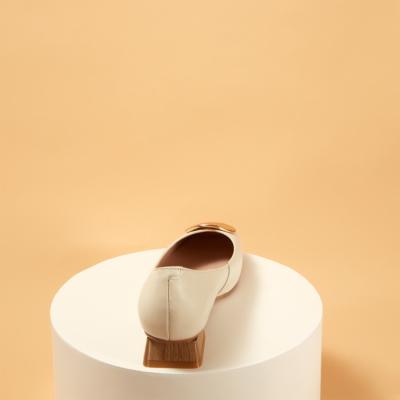Soft Leather Sqaure Toe Metal Decor Low-heel Pumps
