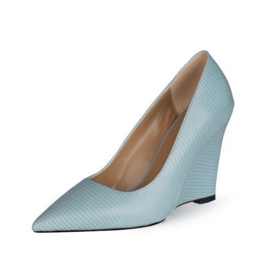 Blue Spring Snake Print Wedge 4 inches Heels Pumps Work Shoes