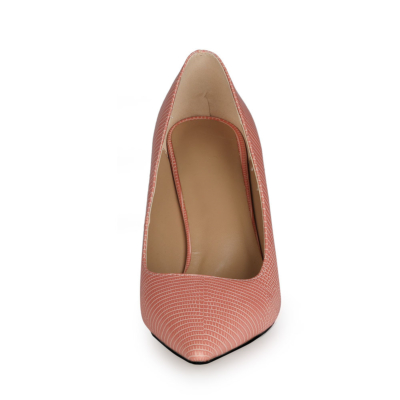 Pink Snake Print Wedge 10cm Heels Pumps Work Shoes