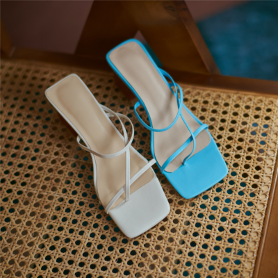 Spring Square Toe Strappy Sandals Shoes with Irregular Block Heels