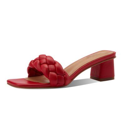 Red Square Toe Padded Sandals Block Heel Mules