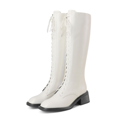 White Square Toe Lace Up Low Heel Knee High Boots