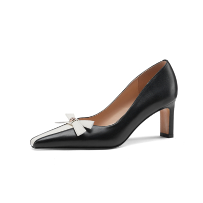 Square Toe Leather Bow Low Heel Dress Pump Spring 2021 Shoes