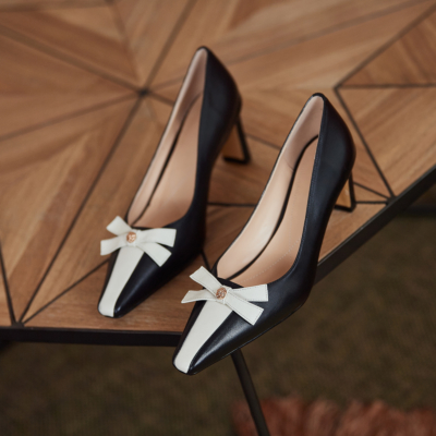 Black Square Toe Leather Bow Low Heel Dress Pump Spring 2021 Shoes