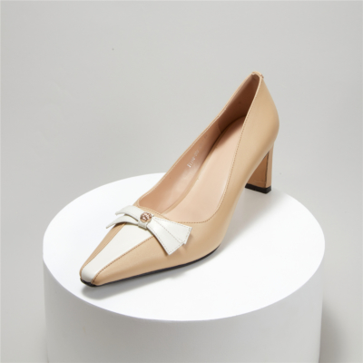 Apricot Square Toe Leather Bow Low Heel Dress Pump Spring 2021 Shoes