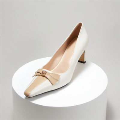 White Square Toe Leather Bow Low Heel Dress Pump Spring 2021 Shoes