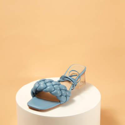 Blue Square Toe Padded Sandals Clear Heel Mules