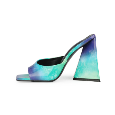 Blue Square Toe Slide Sandal 2021 Spring Gradient Block Heel Shoes