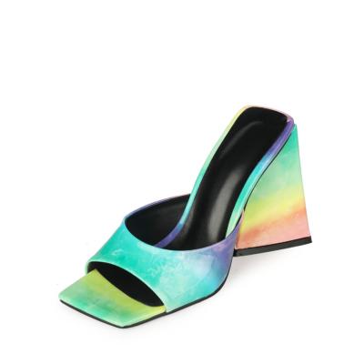 Mint Square Toe Slide Sandal 2021 Spring Gradient Block Heel Shoes