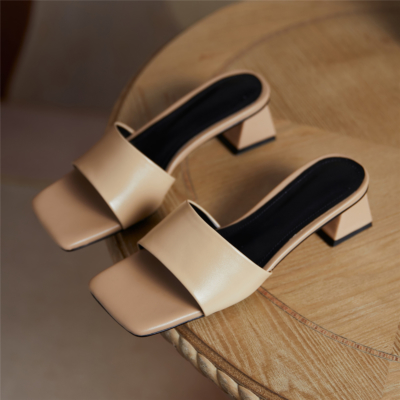 Nude Square Toe Slides 2021 Summer Low Chunky Heel Leather Sandals