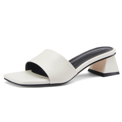 Square Toe Slides 2021 Summer Low Chunky Heel Leather Sandals
