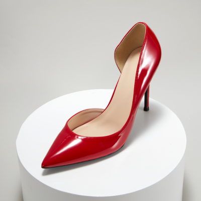 Patent Leather Pointed Toe D'orsay Stiletto Heels Pumps