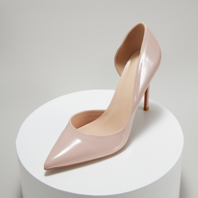 Nude Patent Leather Pointed Toe D'orsay Stiletto Heels Pumps