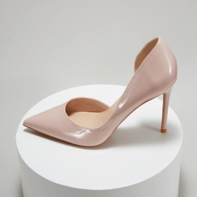 Nude Patent Leather Pointed Toe D'orsay Stiletto Heels Pumps-style2