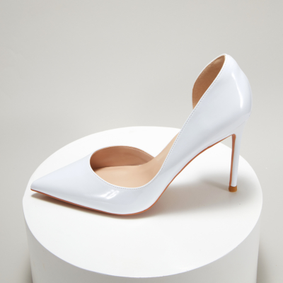 White Patent Leather Pointed Toe D'orsay Stiletto Heels Pumps-style4
