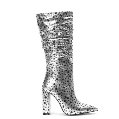 Silver Stars Pointed Toe Zip Block Heel Slouchy Mid Calf Boots