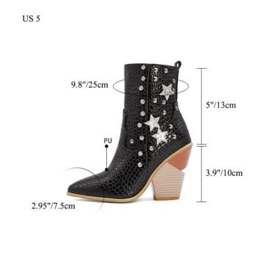 Stars Rivets Snake Embossed Block Heel Short Ankle Boots