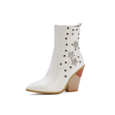 White Stars Rivets Snake Embossed Block Heel Short Ankle Boots