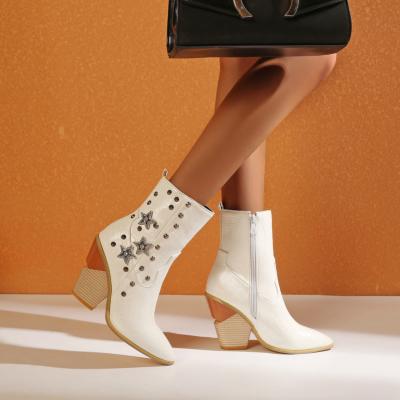 White Stars Rivets Snake Embossed Block Heel Short Ankle Boots