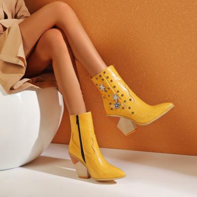 Yellow Stars Rivets Snake Embossed Block Heel Short Ankle Boots