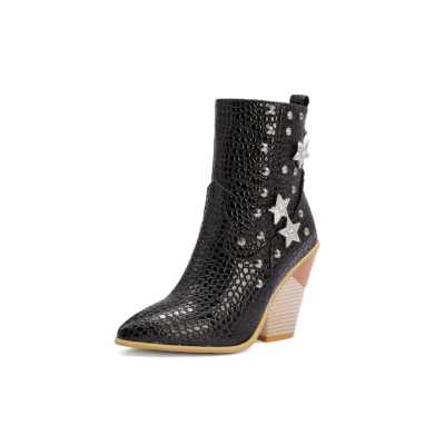 Black Stars Rivets Snake Embossed Block Heel Short Ankle Boots