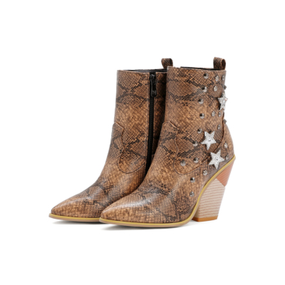 Stars Rivets Snake Embossed Block Heel Short Ankle Boots