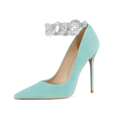 Mint Stiletto Heels Dresses Pumps Rhinstones Ankle Strap Suede Shoes
