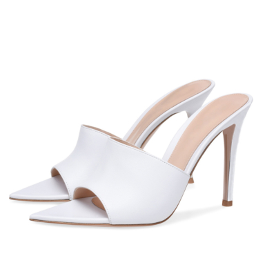 Stiletto Mule Heels Slide Party Sandals with Pointed Toe