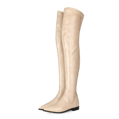 Beige Stretch Comfortable Elastic Flat Ladies Thigh High Boots