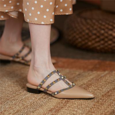 Studded Flat Mule Slides T-Strap Closed Toe Rivet Flat Sandals