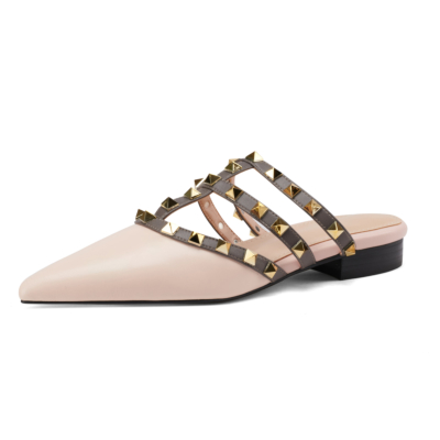 Pink Studded Flat Mule Slides T-Strap Closed Toe Rivet Flat Sandals