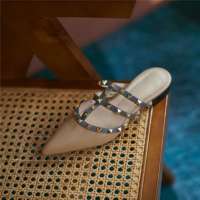 Khaki Studded Flat Mule Slides T-Strap Closed Toe Rivet Flat Sandals