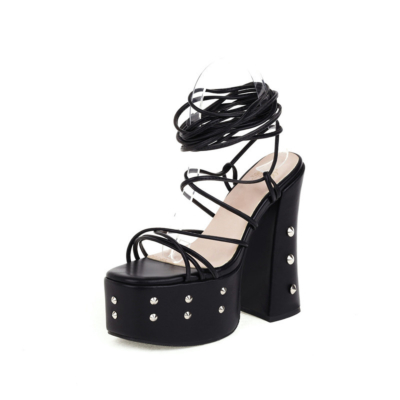 Black Studded Lace Up Platform Sandals Chunky High Heels Strappy Halloween Shoes