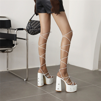 White Studded Lace Up Platform Sandals Chunky High Heels Strappy Dress Shoes