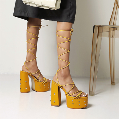 Studded Lace Up Platform Sandals Chunky High Heels Strappy Dress Shoes
