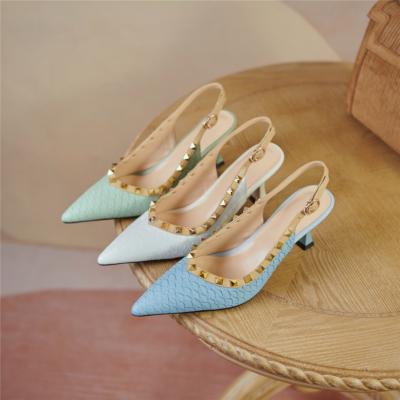 Snake Print Leather Work Pumps Spring Medium Heel Slingback Shoes
