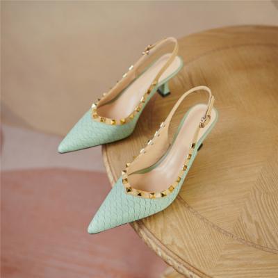 Mint Snake Print Leather Work Pumps Spring Medium Heel Slingback Shoes