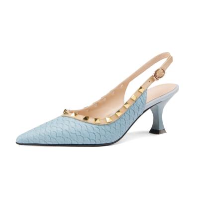 Blue Snake Print Leather Work Pumps Spring Medium Heel Slingback Shoes
